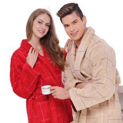 Хлопковый Халат мужские пижамы XXL Женские ночное белье Утепленные длинные мягкие полотенце флис любит осень Винер красный хаки