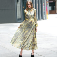 Spring Summer Silk Long Dress Stand Evening Party Dresses Night Dresses Pretty Women Elegant 6658