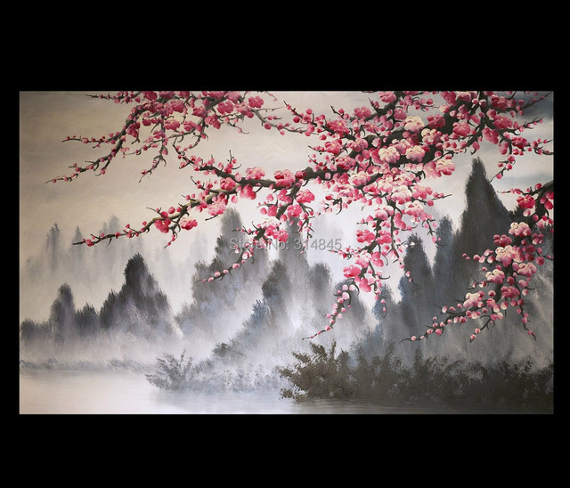 modern wall art paintings art prints on canvas japanese cherry blossom painting no framed - Japanese Garden Cherry Blossom Paintings