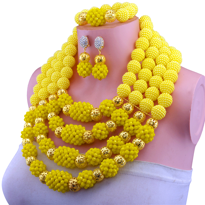 Luxury Yellow Nigerian Beads Fashion Jewelry Set Wedding Anniversary Bride Gift Necklace Earrings Set Free Shipping