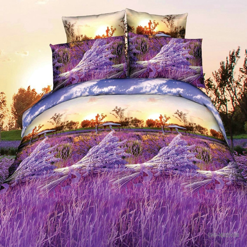 bravo bedding Price - bravo 3d linen lavenders reactive print queen size bedding set  of duvet cover bed sheet pillow cases 4pcs kit