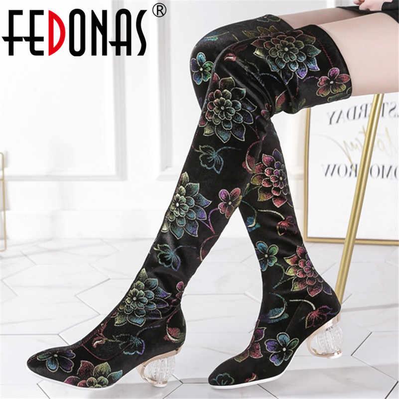 FEDONAS zarif kadın yüksek topuklu oyalamak diz üzerinde çizmeler sivri burun Chelsea çizmeler kadınlar için yeni sonbahar kış ayakkabı kadın