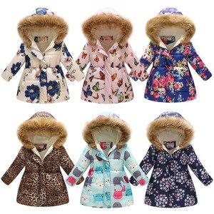 Image 1 - 2019 Kış Tulum Çocuk Giyim Kış Kız Sıcak Baskı Leopar Parka Kızlar Için Ceket Ceket Pamuklu Giyim 8 Yıl