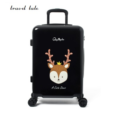 Travel tale 20/24 inches ABS+PC cartoon lovely Rolling Luggage customs lock Spinner brand Travel Suitcase travel tale color stitching 20 22 24 26 28 inches abs high quality rolling luggage spinner brand travel suitcase