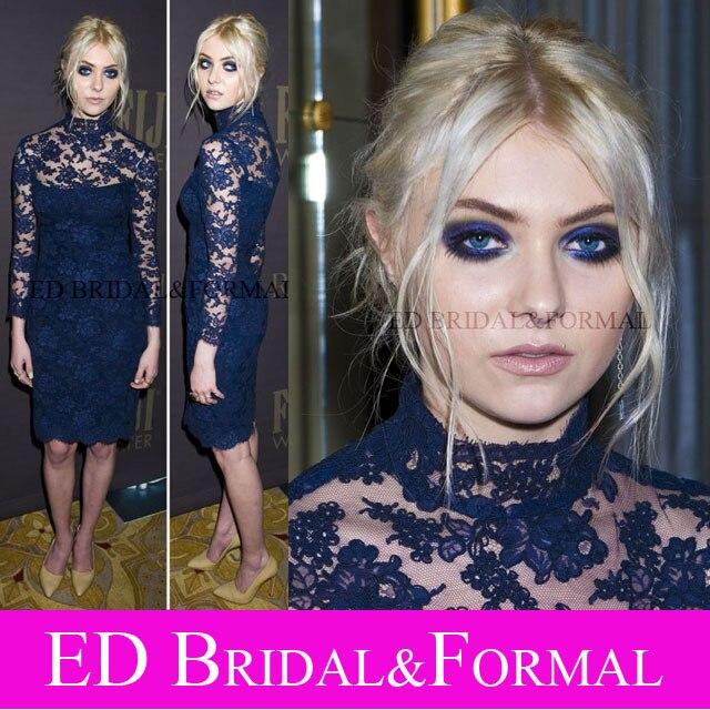 Taylor Momsen Dress Knee Length Long Sleeve High Neck Lace Cocktail Dress  Navy Blue Formal Prom 2510c5e4a898