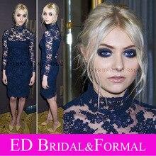 Taylor Momsen Kleid Knielangen Long Sleeve High Neck Lace Cocktailkleid Marineblau Formales Abschlussball-kleid