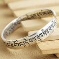 Vintage Thai Silver 925 sterling silver jewelry wholesale opening Sanskrit mantra Tibetan silver bracelet ladies silver bracelet