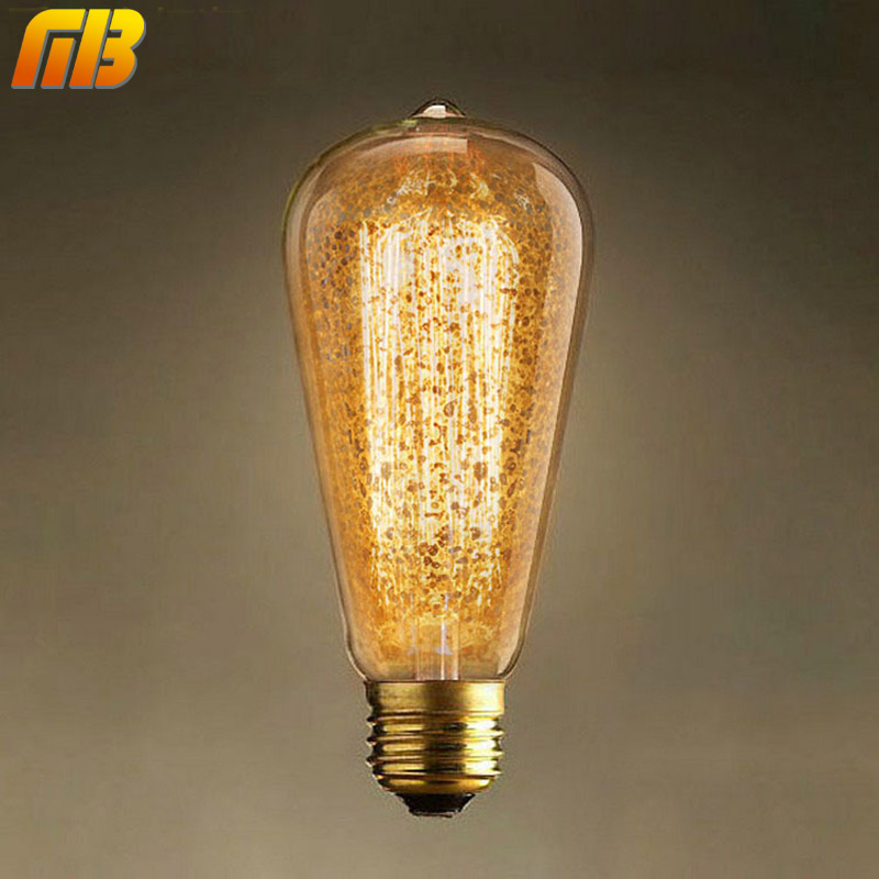 [MingBen] Vintage Edison Bulbs ST64 Golden Snowflake 220V E27 Incandescent Bulbs Light 40W Filament Retro Light For Pendant Lamp