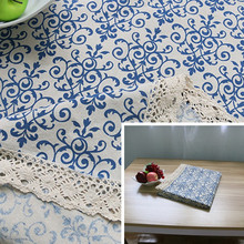 DHANXINZ Sytlish Vintage Blue and White Chinese Classical Cotton Linen TableCloth Print Tablecloth Home Kitchen Decoration