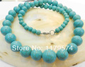 6-14mm Blue Turkey Turquoise Jaspers Round Beads Necklace AAA  WJ12t7