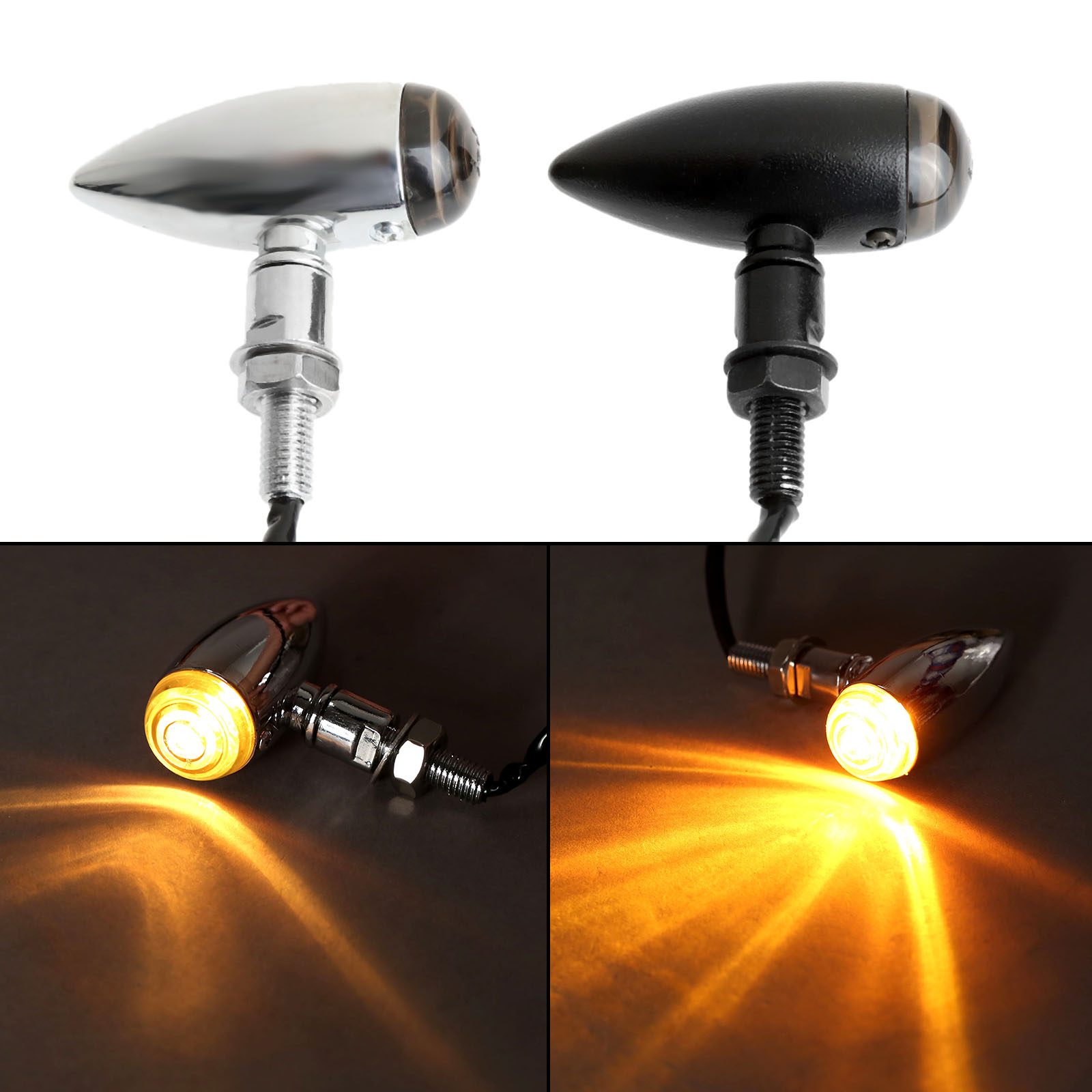 2Pcs Motorcycle Bullet Turn Signals Indicators Blinker Lights Lamp Flashing For Choppers Cruisers Honda Suzuki Kawasaki Yamaha