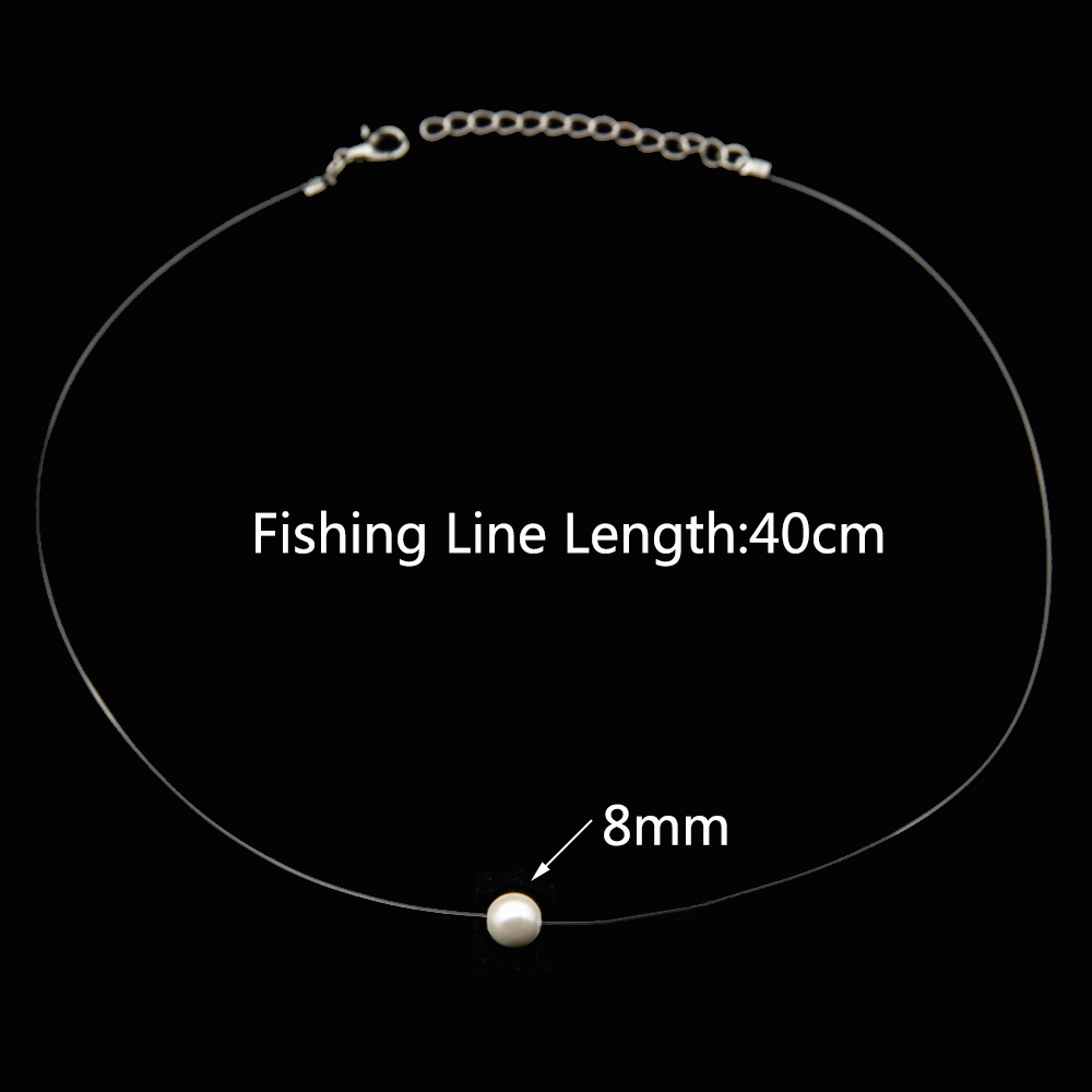 Poputton Female Transparent Fishing Line Necklace Silver Invisible Chain Necklace Women Rhinestone Choker Necklace Collier Femme 8