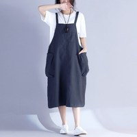 Women Fashion Long Baggy Kaftan Vestido Retro Pockets Bib Overalls Sleeveless Dungarees Spaghetti Strap Dress Loose