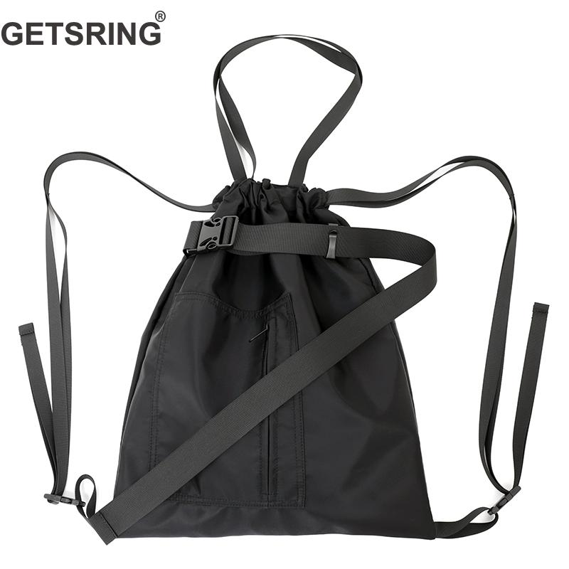 GETSRING Woman Bag Woman Backpack Shoulder Bags Drawstring Black Nylon Back Bags For Woman 2018 New
