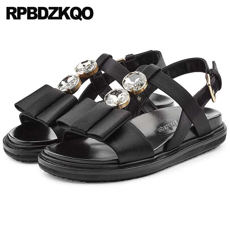333fd4a5e2e66 Designer Sandals Women Luxury 2017 Flatform Black Flower Flat Platform Bow  T Strap Comfortable Jewel Satin