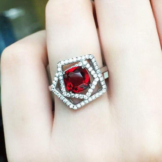 Стильный щепка кольцо для женщины 6 мм круглый гранат природный серебряное кольцо настоящее стерлингового серебра 925 лучший мода подарок для женщина