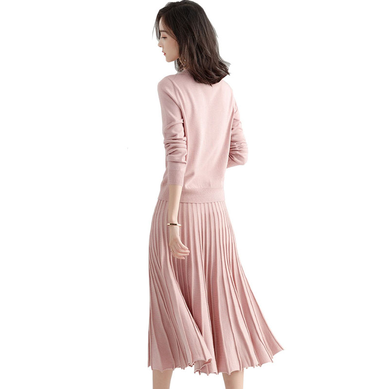 2019 Sweater Knitted 2 Two Piece Set Suit Autumn Winter Women Warm New Pullover Knitting Wool Sweater Long Pleated Skirts Sets in Women 39 s Sets from Women 39 s Clothing