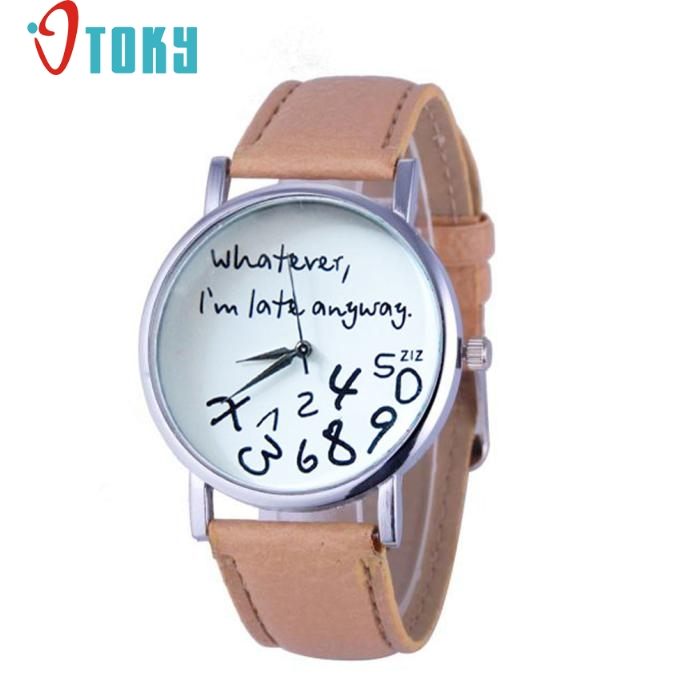 Watches Newly Design  1PC Hot Unisex Leather Quartz Wrist Watch Whatever I am Late Anyway Letter Women Watches Black DEC12 lovesky 2016 new arrival women pu leather watch who cares i am late anyway letter watches wrist watch free shipping