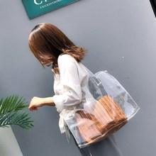 New 2018 one-shoulder bag ladies fashionable printed transparent beach waterproof handbag