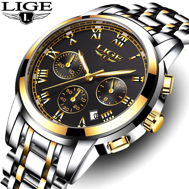 LIGE hommes montres Top marque de luxe homme militaire Sport lumineux montre hommes affaires Quartz montre pleine horloge homme Relogio Masculino