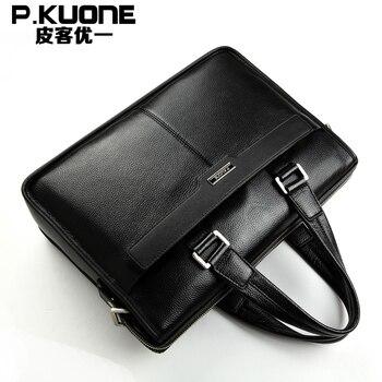 """Man Business style genuine leather bag briefcase men messenger bags men multi-function shoulder bag 14""""Laptop handbag"""