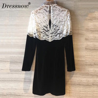High Quality dress women party autumn sexy lace dress long sleeve patchwork dress black and white