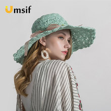 7e7173151 Women Lace Ribbon Bow Wide Brim Panama Hats 2019 Summer Fashion Female  Pleated Woven Straw Hat Beach Holiday Sunshade Sun Hat