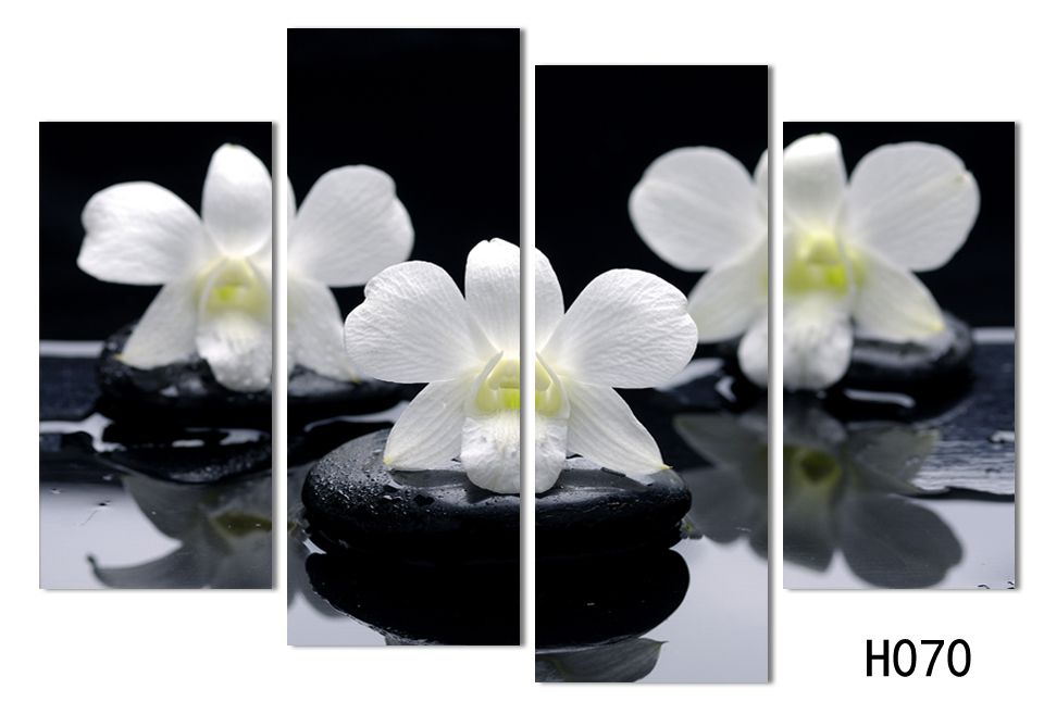 Hot sell 4 panels black white flower canvas painting combined oil hot sell 4 panels black white flower canvas painting combined oil painting hanging on the wall free shipping promotion h070 in painting calligraphy from mightylinksfo