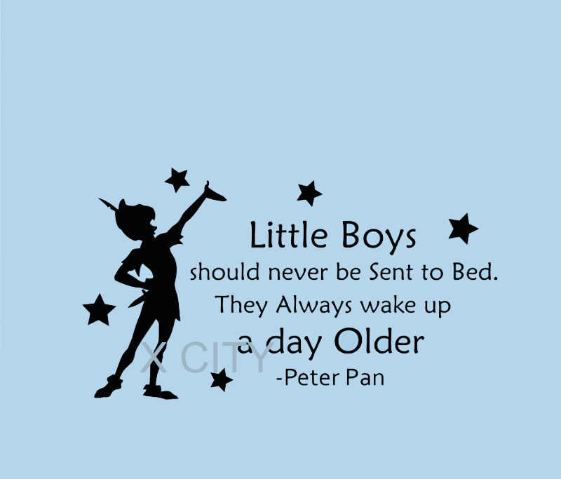 Peter Pan Sticker Silhouette Fairy Tale Cartoon Wall Decal Vinyl Quote  Little Boys Should Never Be Sent To Bed Nursery Playroom