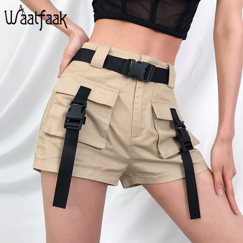 Waatfaak Khaki Women Shorts High Waist Ladies Summer Shorts Femme Pockets Button Vintage Sweatpants Casual Loose Cargo Short