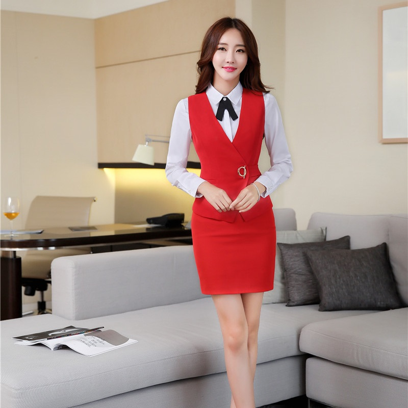 Spring Autumn Novelty Red OL Styles Formal Blazers Suits With Vest And Skirt For Ladies Women Business Blazer Outfits Plus Size