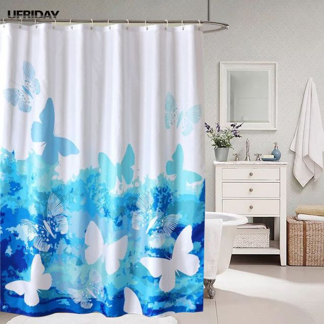 UFRIDAY Blue Butterflies Shower Curtain Polyester Fabric Waterproof Mildew Bath Curtian Plastic Hook 180x200 180x200cm Cortina