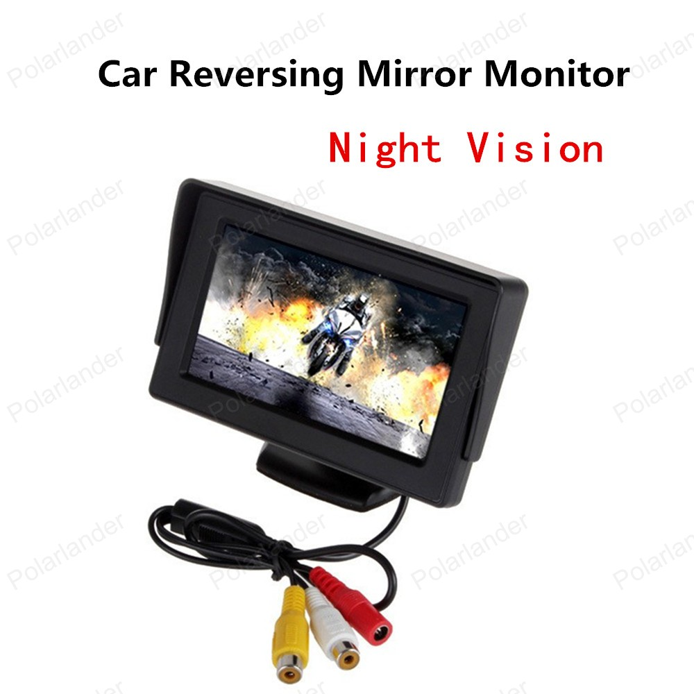 new! 4.3 Inch Car Monitor LED dispaly With 2 video input + CCD Rear View Camera Night Vision