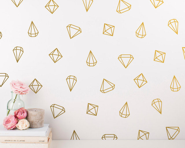 48 Diamond Decals Geometric Wall Decals Princess Girl Bedroom Wall Art  Stickers Baby Wall Decals Removable