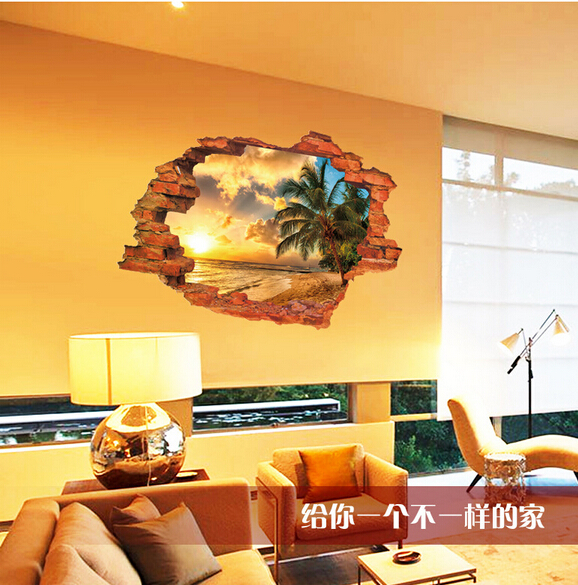 beach wall decor for living room palm scenery 3d window wall decor home 24448