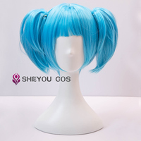 Sallyface Sally Face Sally Short Blue Wig With Two Clip Ponytails Heat Resistant Hair Cosplay Costume Wigs + Wig Cap