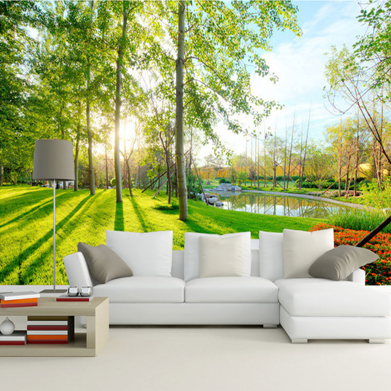 Nature landscape sunshine forest wall mural custom photo for Cheap 3d wallpaper