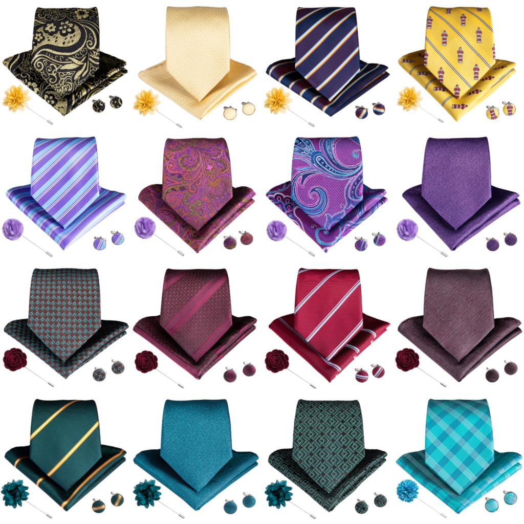 DiBanGu Wedding Tie For Men Pink Blue Color Ties Hanky Cufflinks Brooch Set For Men's Wedding Groomsmen Neck Ties MJ-1571