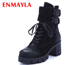 Airfour Hoop&Loop Ankle Boots for Women Zip Lace-up Platform Shoes Woman Autumn/Winter Boots Shoes Black Brown Fashion Leisure mens riding ankle boots canvas fashion autumn winter shoes two wear talent black gray khaki casual lace up male leisure boots