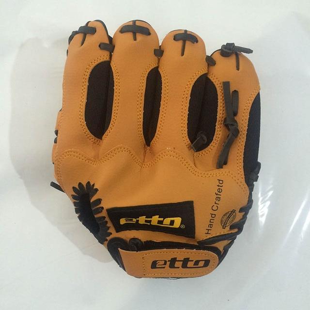 Etto 10 Inches High Quanlity PVC Right Hand Baseball Glove Children Kids Softball Baseball Training Gloves For Child HOB001 Y 4