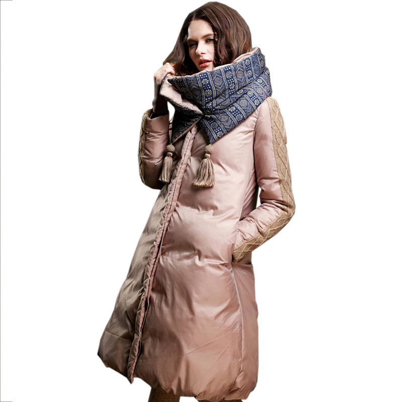 Removable collar Large size Women Winter Fluffy Down jacket Stitching Coat Warm Manual Fringed Long Parkas Female Overcoat X248