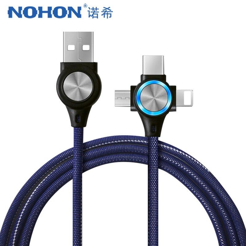Câble USB NOHON pour iPhone Xs Max XR X 3 en 1 câbles de charge rapide pour Android Xiaomi Samsung Huawei cordon de synchronisation des données du téléphone portable