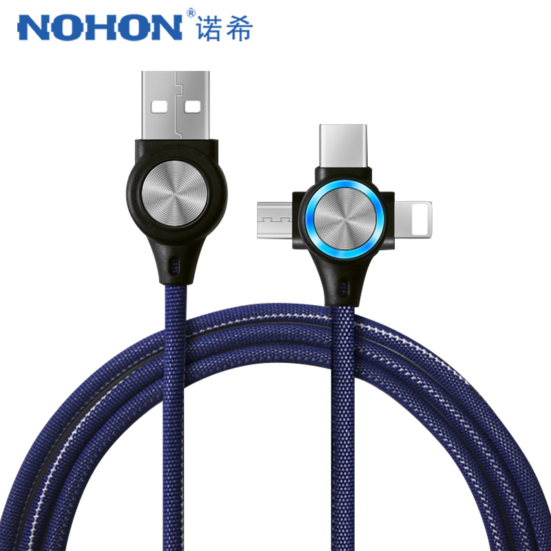 NOHON USB Cable For iPhone Xs Max XR X 3 in 1 Fast Charging Cables For Android Xiaomi Samsung Huawei Mobile Phone Data Sync Cord|Mobile Phone Cables|   - AliExpress