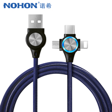 NOHON USB Cable For iPhone Xs Max XR X 3 in 1 Fast Charging Cables For Android Xiaomi Samsung Huawei Mobile Phone Data Sync Cord