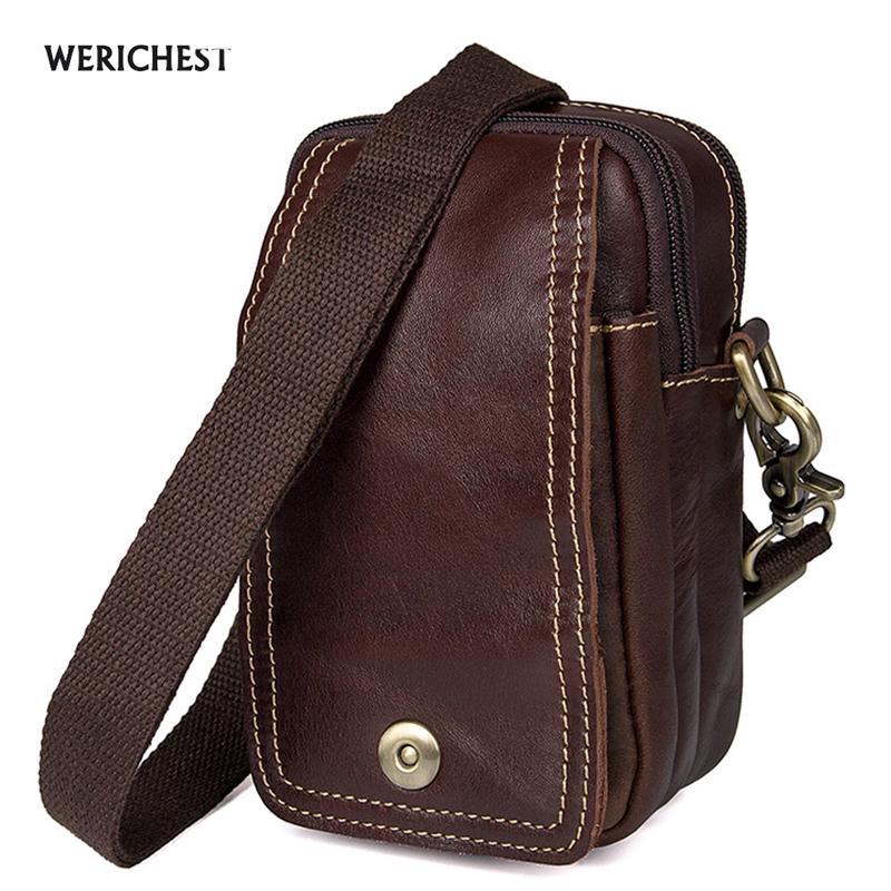 WERICHEST Brand Messenger Bag Men Leather Waist Packs Fashion 2017 New Mobile Phone Bag Vintage Shoulder Bags Men Messenger Mags цена