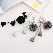 Flower pendant keychain imitation pearl fork tassel cute lady car bag jewelry gift llaveros 2019