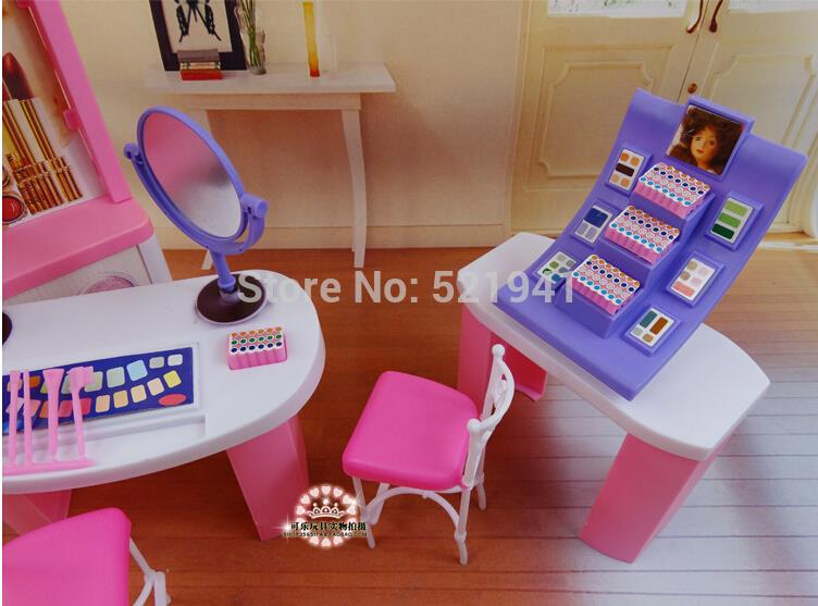 barbie doll furniture diy. aliexpresscom buy free shipping pink dream makeup center dressing room doll accessories furniture for barbie dollgirls diy toys from reliable diy