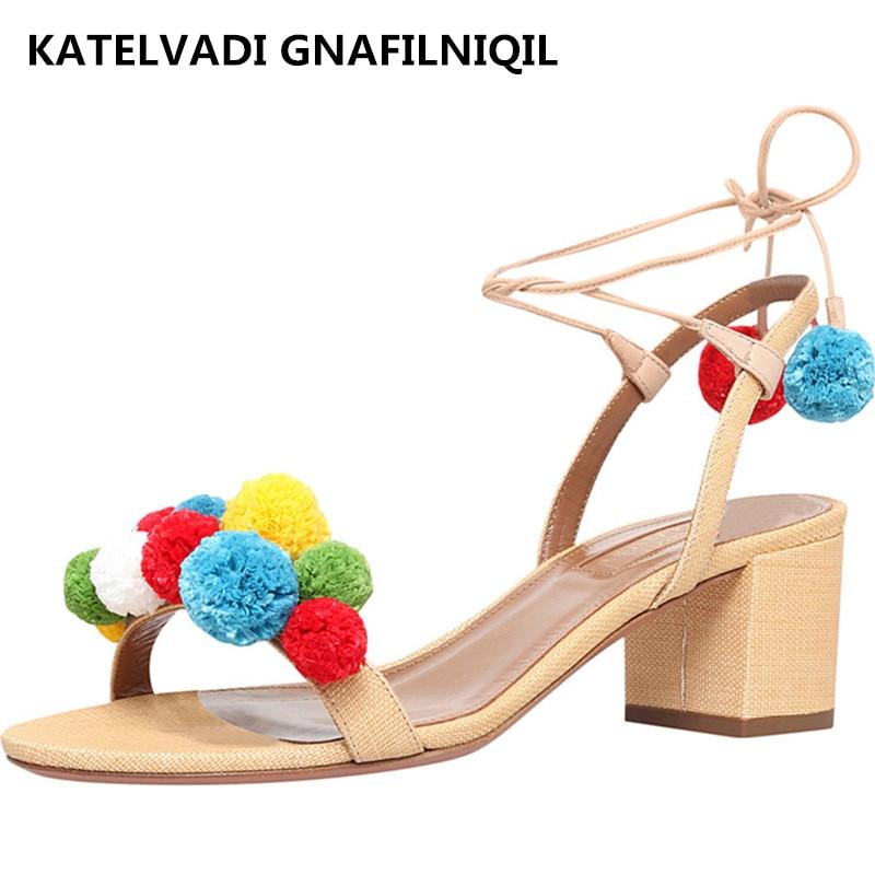 Shoes Woman Gladiator Sandals Women Summer Lace Up Denim Sandals Red 6CM Thick Heels Open Toe Fashion Women Sandals FS-0043 цены онлайн