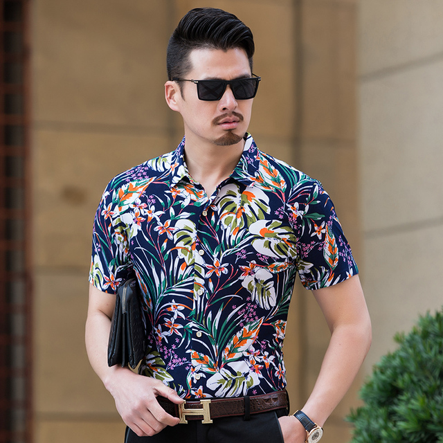 1ab6abd08cbc Summer 2018 mens latest style floral printed dress shirt male casual  fashion colorful striped printing clothes