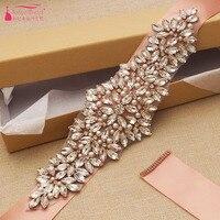 Rose Gold Sparkly Handmade Rhinestone Bridal Belt Crystal Pearls Wedding Accessories Sashes Belt ZA030